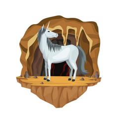 cave interior scene with unicorn greek vector image