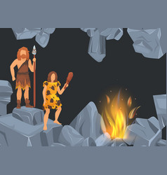 caveman and woman in prehistoric period in rock vector image