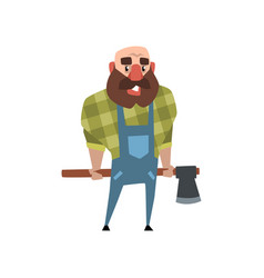 cheerful lumberjack holding ax behind his back vector image