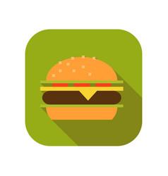 Cheeseburger or hamburger flat icon fast food vector
