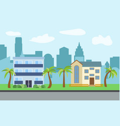city with two-story and three-story houses vector image