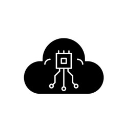 cloud technologies system black icon sign vector image