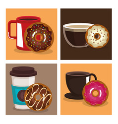 Coffee and donuts set icons vector