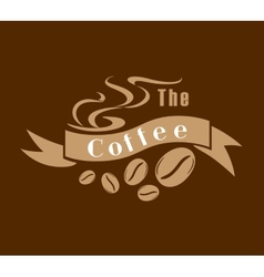 Coffee emblem in brown and white vector image vector image