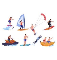 collection people enjoying beach sport vector image