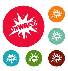 Comic boom thwack icons circle set vector