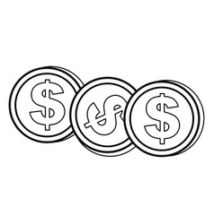 Contour coins dolar currency vector