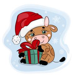 cute cartoon bull in santa hat on a blue vector image