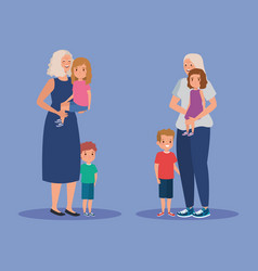 Cute grandmothers with their girls and boys kids vector