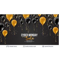 Cyber monday sale background with air balloons vector