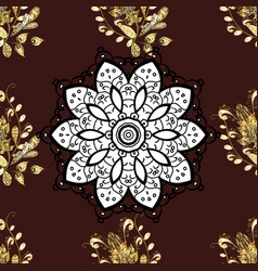 damask golden floral pattern on a brown white vector image