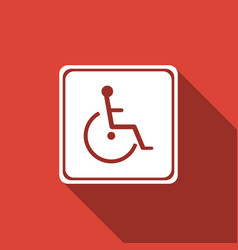 disabled handicap icon with long shadow vector image
