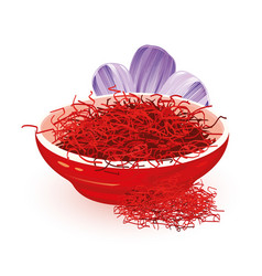 Dry red saffron is in ceramic bowl near violet vector