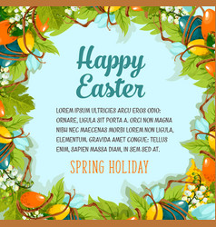 easter card with floral wreath of eggs and flowers vector image