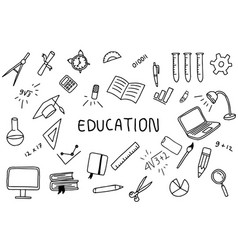 education doodle art with text banner on the vector image
