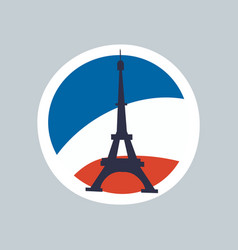 Eiffel tower isolated on multicolored background vector