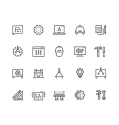 Engineering line icons work project mechanical vector