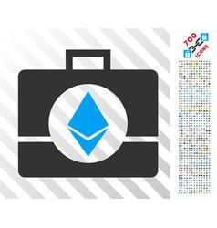 Ethereum crystal case flat icon with bonus vector
