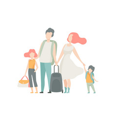 family travelling father mother daughter and son vector image