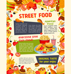 fast food poster with burger drink and dessert vector image