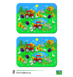 find 8 differences of cute farm with domestic vector image