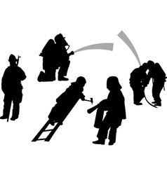 firemen in action set siluettes vector image