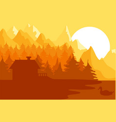 forest house near the mountains vector image