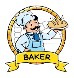 Funny cook or baker Emblem Profession ABC series vector