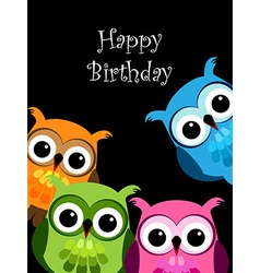Funny owls card vector image vector image