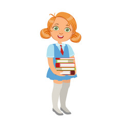 Girl in school uniform holding pile of books vector