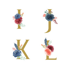 Gold alphabet florals setcollection blue-red rose vector