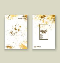 Gold explosion paint splatter artistic cover vector