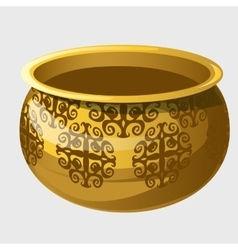 Golden pot with pattern in ancient style vector