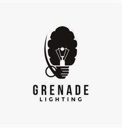 grenade and lighting bulb logo icon template vector image