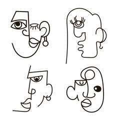 Hand drawing men face in abstract contemporary vector