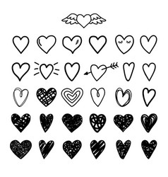 Hand drawn painted hearts vector