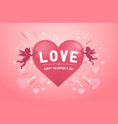 happy valentines day banner with love cupids vector image