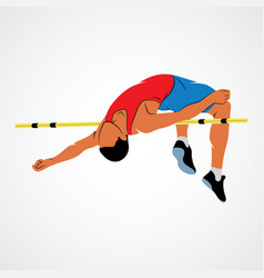 High jump athlete vector
