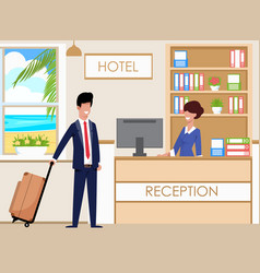 Hotel reception accommodates guests cartoon vector