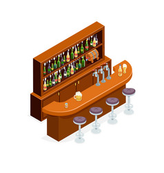 Isometric pub bar restaurant cafe symbol alcohol vector
