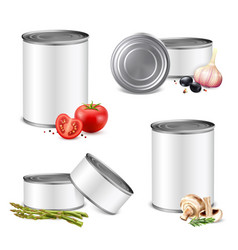 Jarred vegetables tin set vector