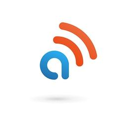 Letter a wireless logo icon design template vector