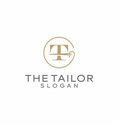 Letter t tailor logo design vector