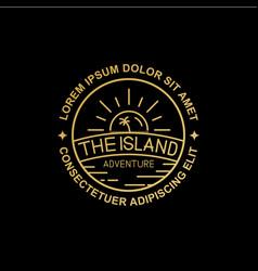 Line art island logo design vector