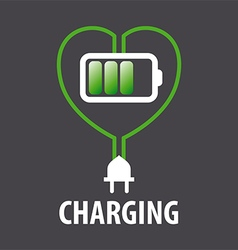 logo battery in the heart and cable with plug vector image vector image