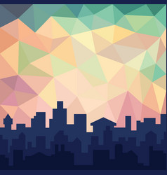 low poly colorful sky over cityline urban building vector image