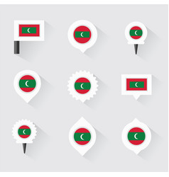 Maldives flag and pins for infographic and map vector