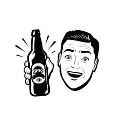 Man with bottle beer retro comic pop art vector