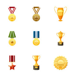 Medals icons set cartoon style vector