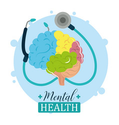 Mental health day medical stethoscope and human vector
